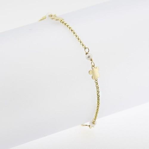 Pulsera de oro amarillo con flores y perlas