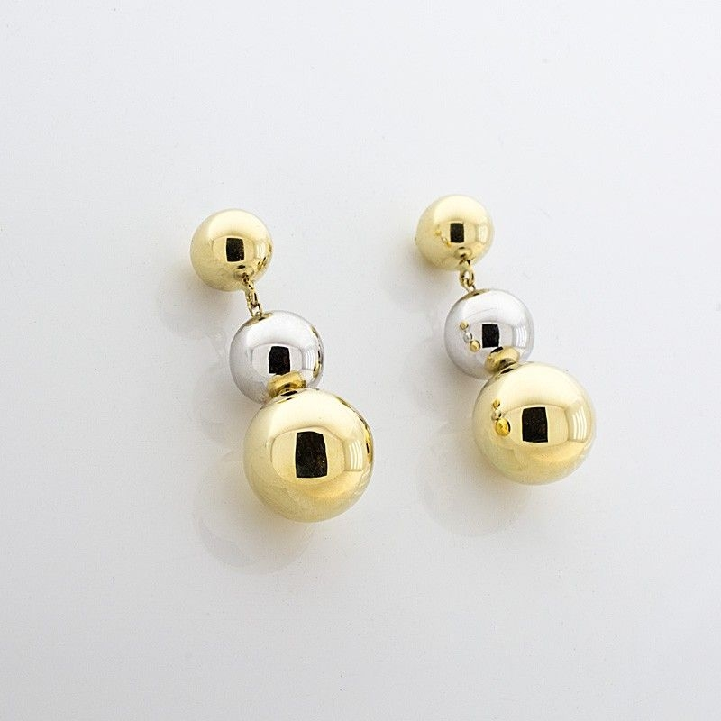 Pendientes de bolas bicolor