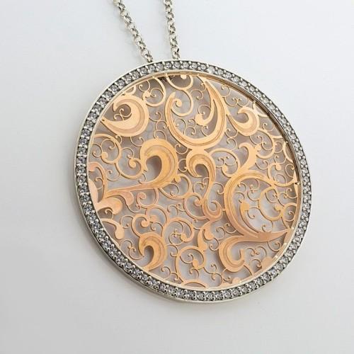 Gargantilla de plata y oro rosa en forma circular