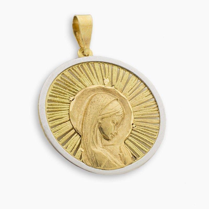 Medalla bicolor de la virgen niña en forma redonda