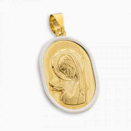 Medalla de oro blanco y amarillo con virgen niña