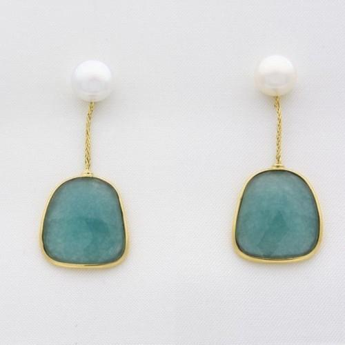 Pendientes largos con perlas y cuarzo azul