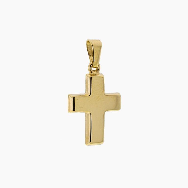 Cruz de oro plana en liso y brillo