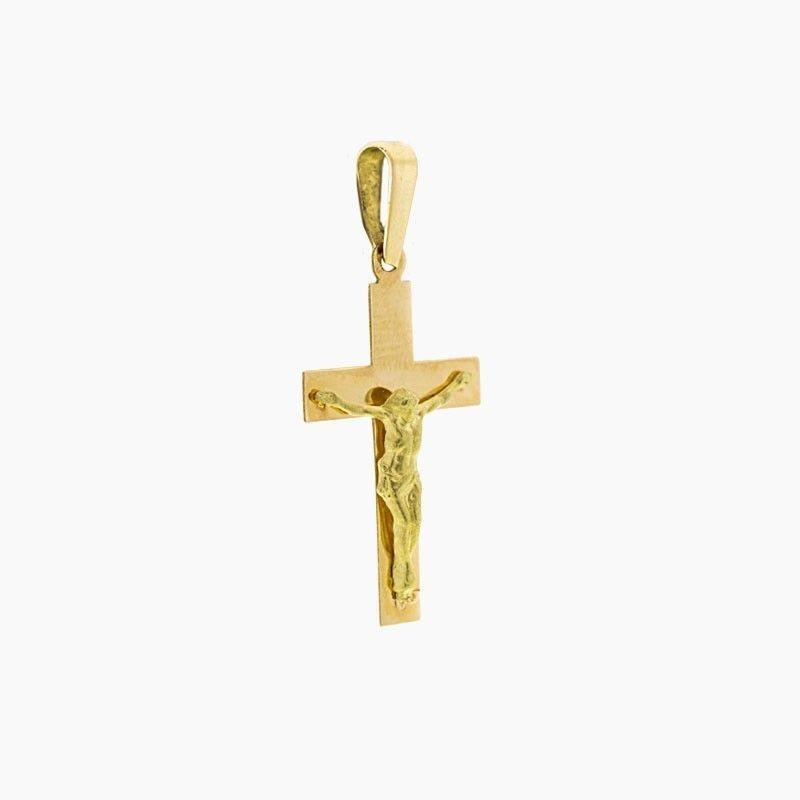 Cruz Latina plana de oro y figura de Cristo