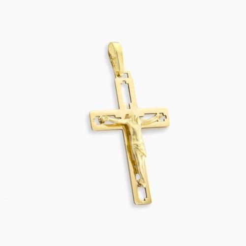 Cruz calada con imagen oro de ley