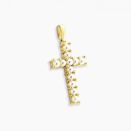 Cruz de perlas y oro