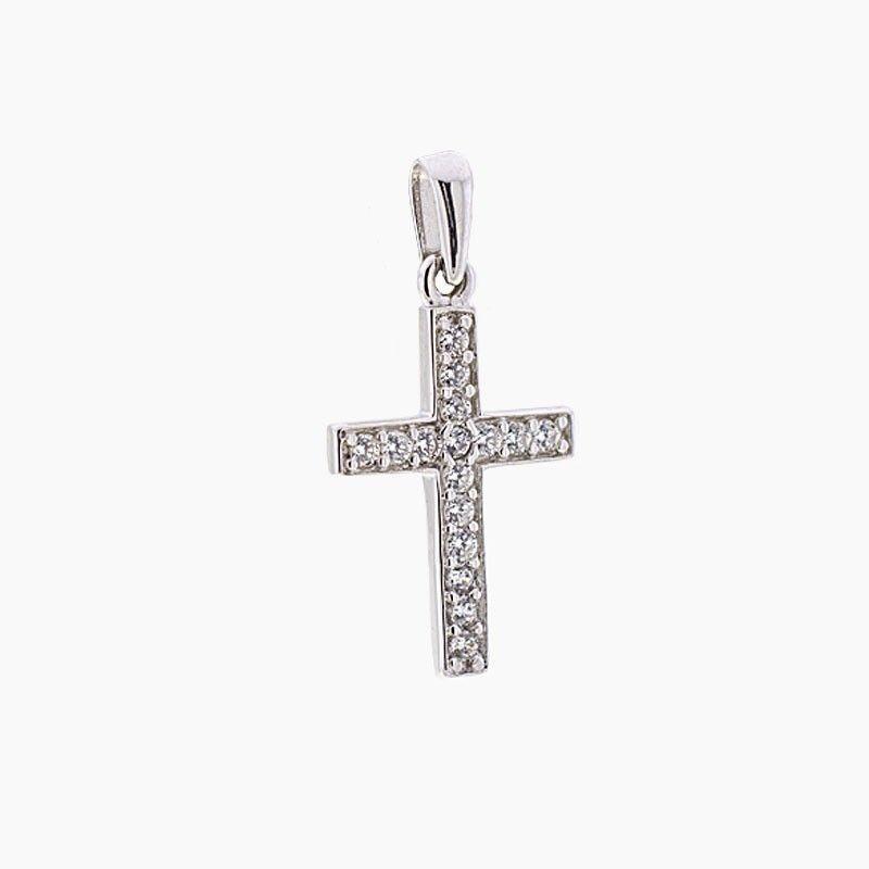 Cruz de oro blanco y circonitas