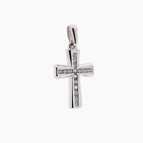 Cruz de oro blanco y circonitas en carril