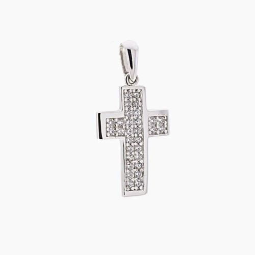 Cruz de oro blanco y circonitas en pavé