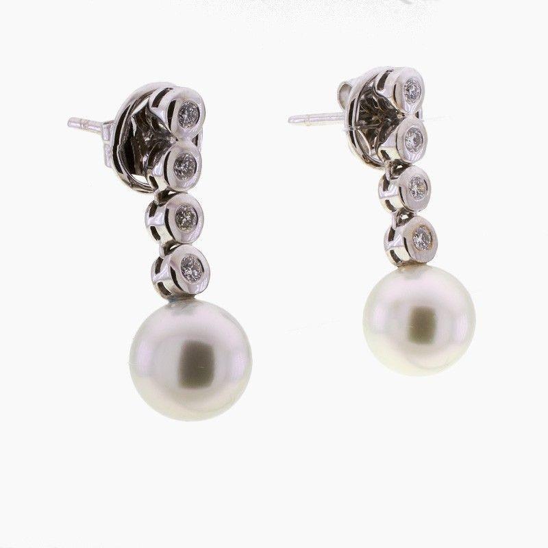 Pendientes de oro, perlas y diamantes