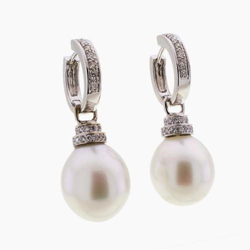 Pendientes desmontables de perlas y diamantes