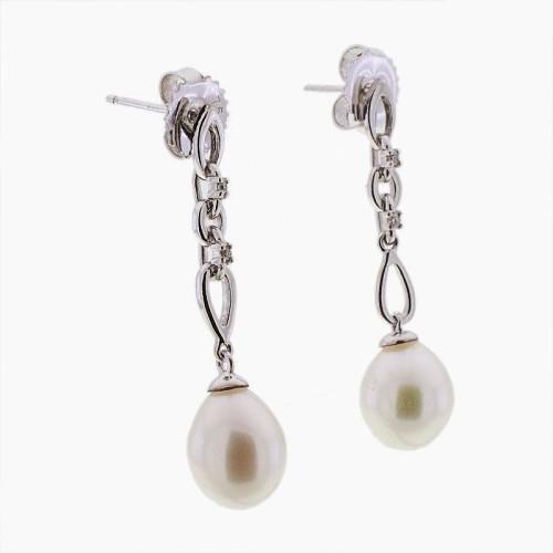 Pendientes cadena de oro, perlas y diamantes