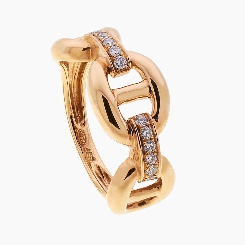 Sortija en forma de cadena con diamantes