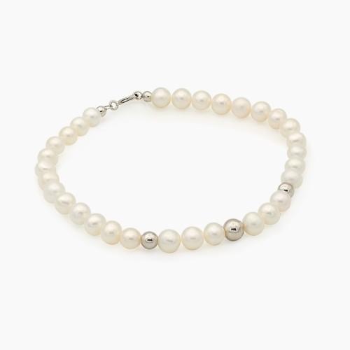 Pulsera de perlas con bolitas en oro blanco
